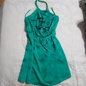 Green Halter Ruffle Dress by The Limited